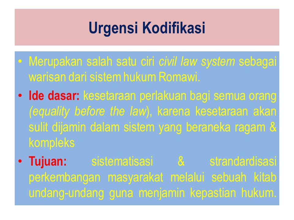 Urgensi Kodifikasi Merupakan salah satu ciri civil law system sebagai warisan dari sistem hukum Romawi.