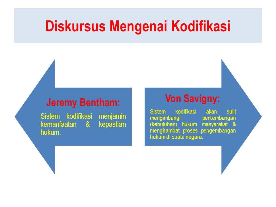 Diskursus Mengenai Kodifikasi Jeremy Bentham: Sistem kodifikasi menjamin kemanfaatan & kepastian hukum.