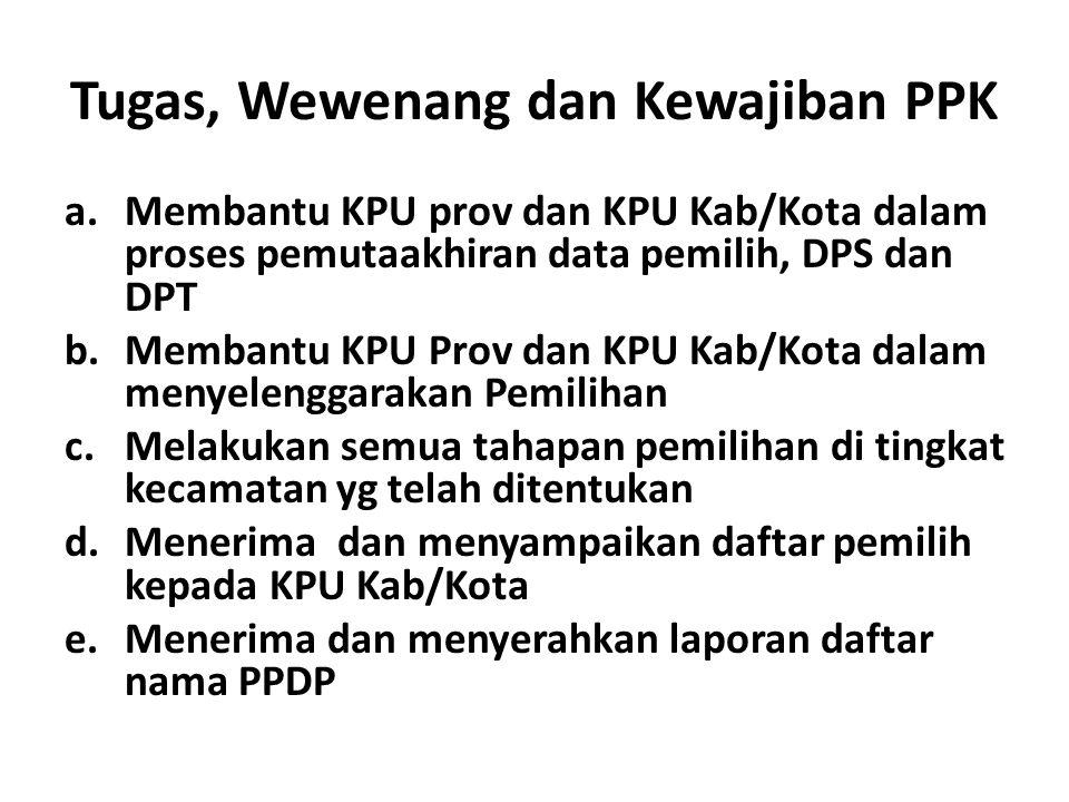 Tugas, Wewenang dan Kewajiban PPK a.Membantu KPU prov dan KPU Kab/Kota dalam proses pemutaakhiran data pemilih, DPS dan DPT b.Membantu KPU Prov dan KP