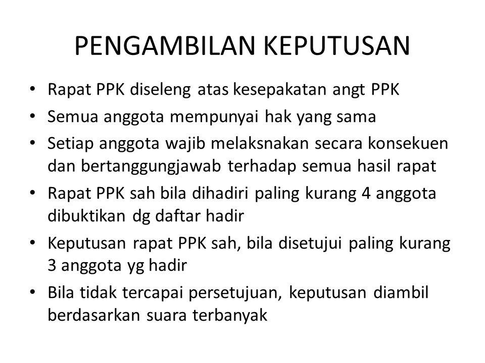 PENGAMBILAN KEPUTUSAN Rapat PPK diseleng atas kesepakatan angt PPK Semua anggota mempunyai hak yang sama Setiap anggota wajib melaksnakan secara konse