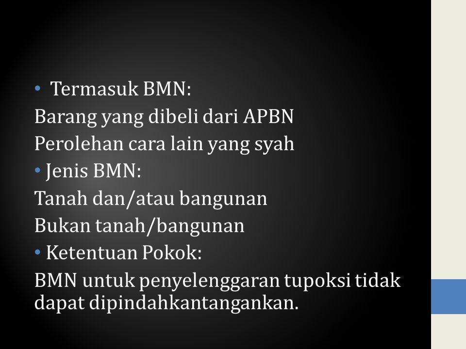Termasuk BMN: Barang yang dibeli dari APBN Perolehan cara lain yang syah Jenis BMN: Tanah dan/atau bangunan Bukan tanah/bangunan Ketentuan Pokok: BMN
