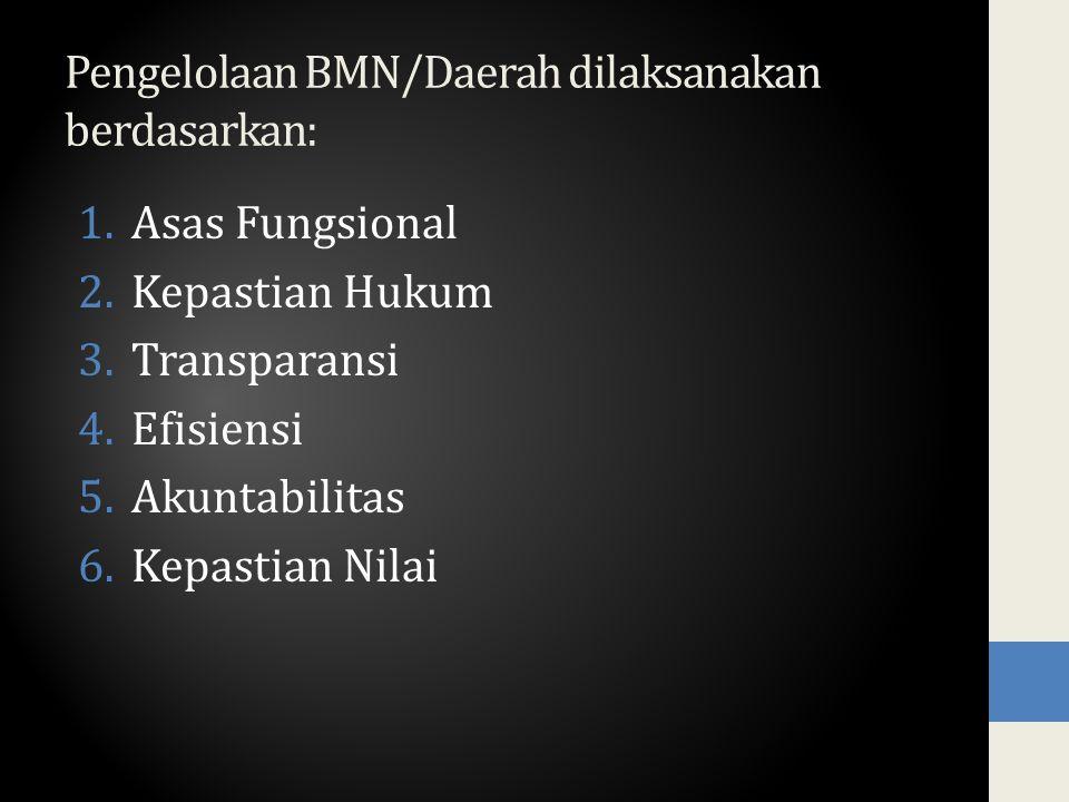 Pengelolaan BMN/Daerah dilaksanakan berdasarkan: 1.Asas Fungsional 2.Kepastian Hukum 3.Transparansi 4.Efisiensi 5.Akuntabilitas 6.Kepastian Nilai
