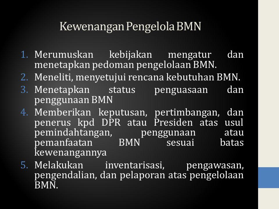 Kewenangan Pengelola BMN 1.Merumuskan kebijakan mengatur dan menetapkan pedoman pengelolaan BMN. 2.Meneliti, menyetujui rencana kebutuhan BMN. 3.Menet