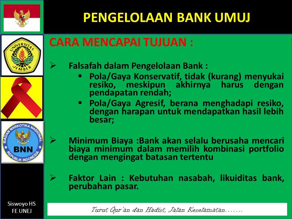 Turut Qur'an dan Hadist, Jalan Keselamatan……. Siswoyo HS FE UNEJ PENGELOLAAN BANK UMUJ CARA MENCAPAI TUJUAN :  Falsafah dalam Pengelolaan Bank :  Po