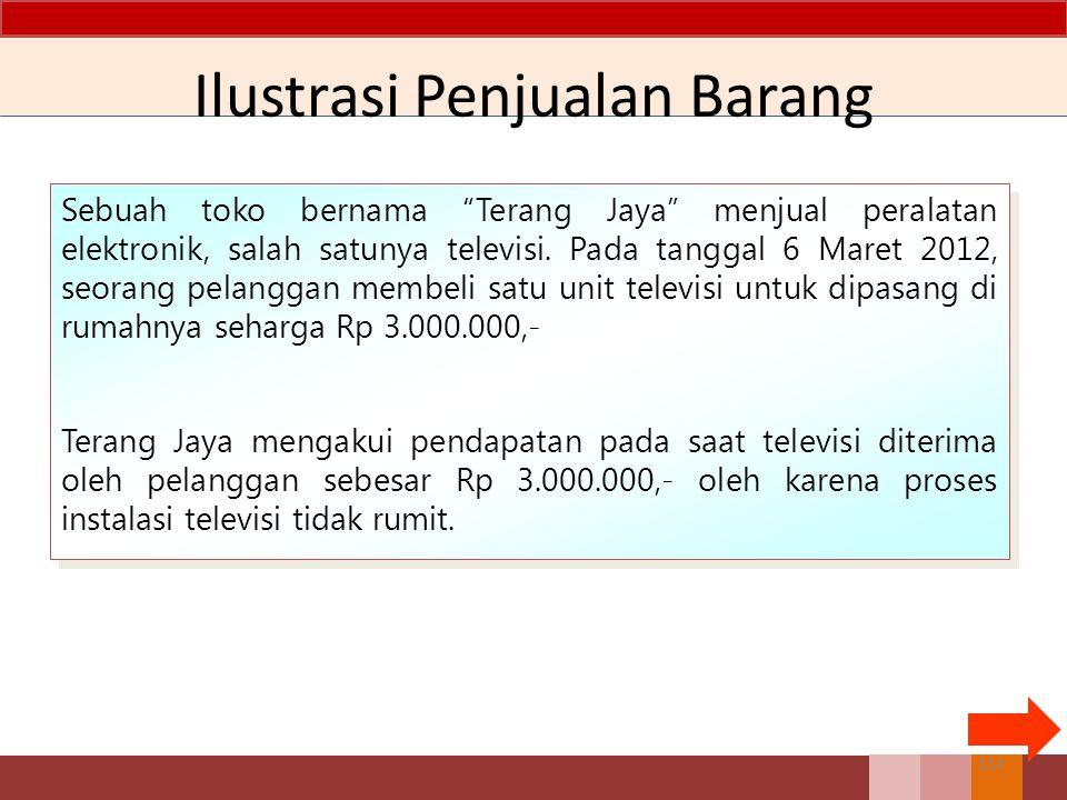 Ilustrasi Penjualan Barang Sebuah toko bernama Terang Jaya menjual peralatan elektronik, salah satunya televisi.