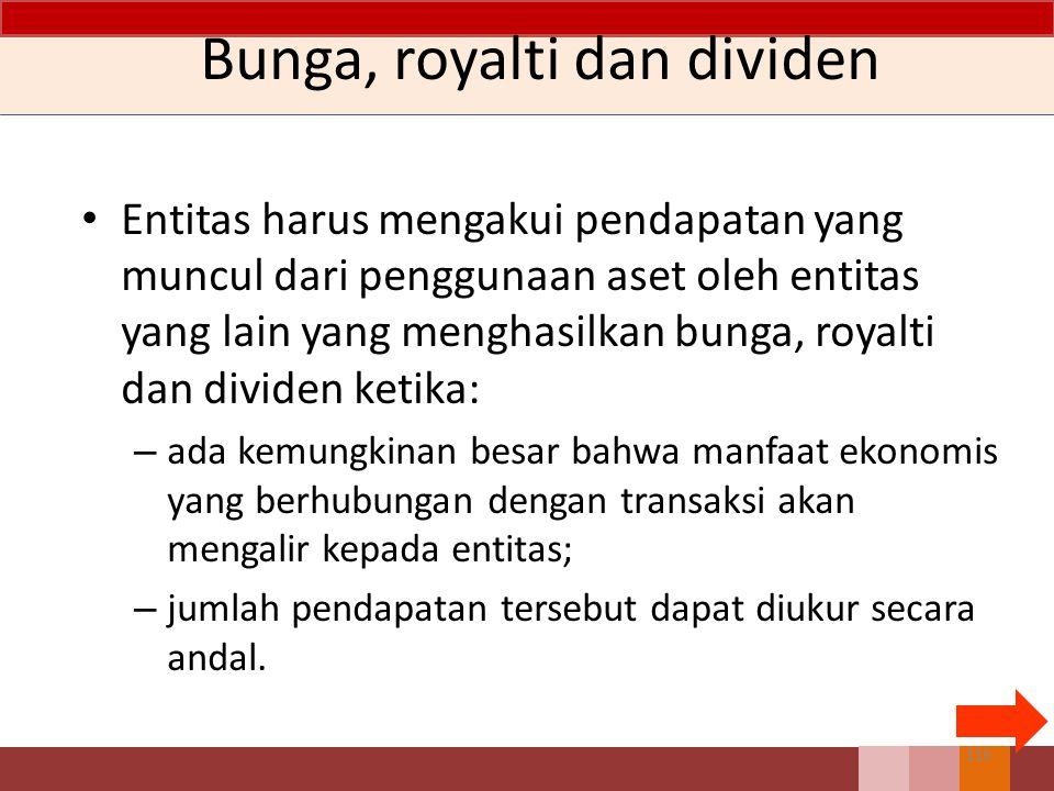 Entitas harus mengakui pendapatan yang muncul dari penggunaan aset oleh entitas yang lain yang menghasilkan bunga, royalti dan dividen ketika: – ada k