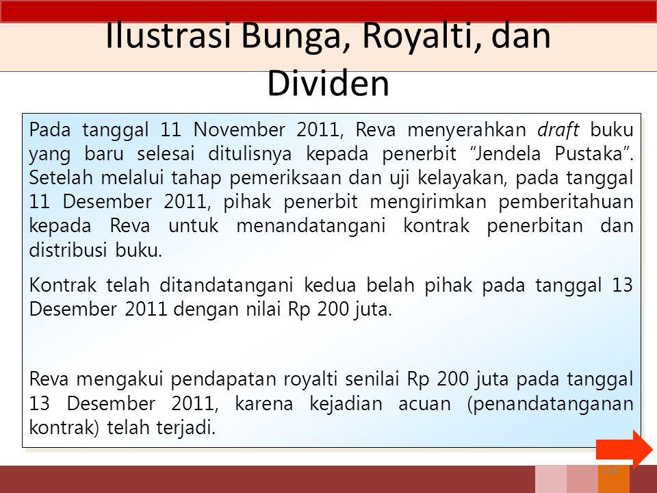 Ilustrasi Bunga, Royalti, dan Dividen Pada tanggal 11 November 2011, Reva menyerahkan draft buku yang baru selesai ditulisnya kepada penerbit Jendela Pustaka .