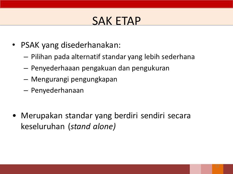 SAK ETAP PSAK yang disederhanakan: – Pilihan pada alternatif standar yang lebih sederhana – Penyederhaaan pengakuan dan pengukuran – Mengurangi pengungkapan – Penyederhanaan Merupakan standar yang berdiri sendiri secara keseluruhan (stand alone) 12