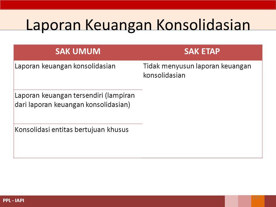 SAK UMUMSAK ETAP Laporan keuangan konsolidasianTidak menyusun laporan keuangan konsolidasian Laporan keuangan tersendiri (lampiran dari laporan keuangan konsolidasian) Konsolidasi entitas bertujuan khusus Laporan Keuangan Konsolidasian 137 PPL - IAPI