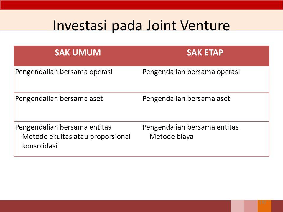 SAK UMUMSAK ETAP Pengendalian bersama operasi Pengendalian bersama aset Pengendalian bersama entitas Metode ekuitas atau proporsional konsolidasi Pengendalian bersama entitas Metode biaya Investasi pada Joint Venture 142