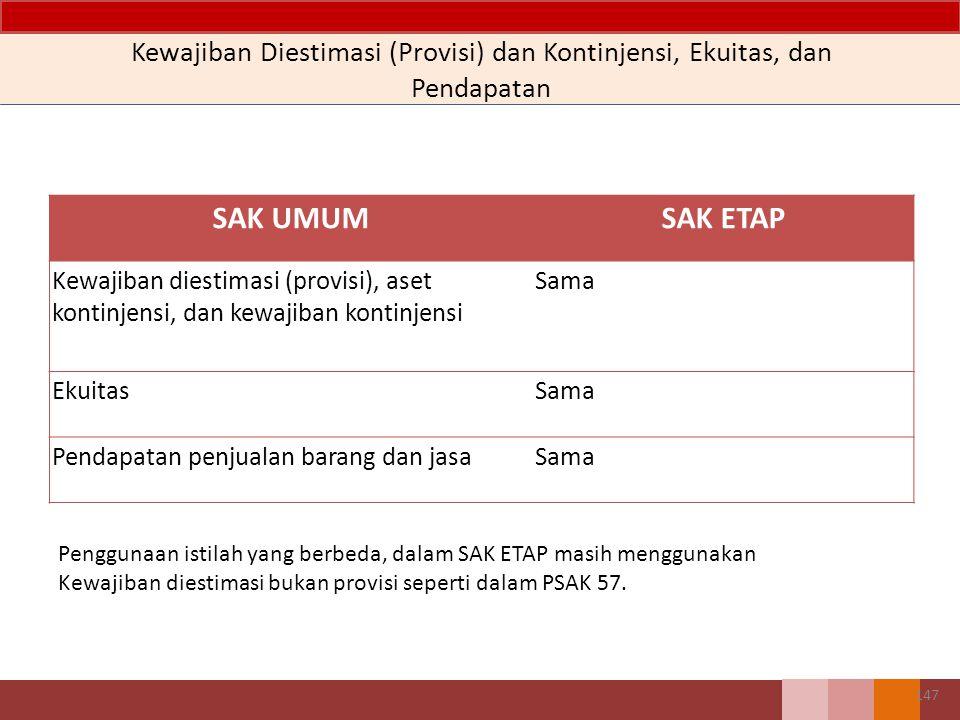 SAK UMUMSAK ETAP Kewajiban diestimasi (provisi), aset kontinjensi, dan kewajiban kontinjensi Sama EkuitasSama Pendapatan penjualan barang dan jasaSama Kewajiban Diestimasi (Provisi) dan Kontinjensi, Ekuitas, dan Pendapatan 147 Penggunaan istilah yang berbeda, dalam SAK ETAP masih menggunakan Kewajiban diestimasi bukan provisi seperti dalam PSAK 57.