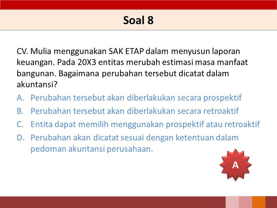 Soal 8 CV. Mulia menggunakan SAK ETAP dalam menyusun laporan keuangan. Pada 20X3 entitas merubah estimasi masa manfaat bangunan. Bagaimana perubahan t