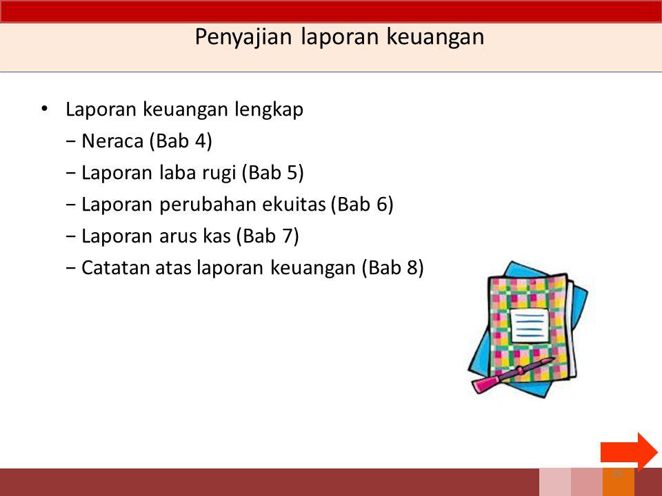 Penyajian laporan keuangan Laporan keuangan lengkap − Neraca (Bab 4) − Laporan laba rugi (Bab 5) − Laporan perubahan ekuitas (Bab 6) − Laporan arus kas (Bab 7) − Catatan atas laporan keuangan (Bab 8) 28
