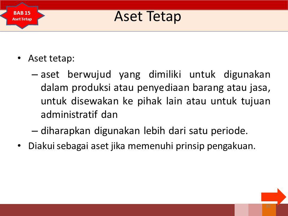 Aset Tetap Aset tetap: – aset berwujud yang dimiliki untuk digunakan dalam produksi atau penyediaan barang atau jasa, untuk disewakan ke pihak lain at