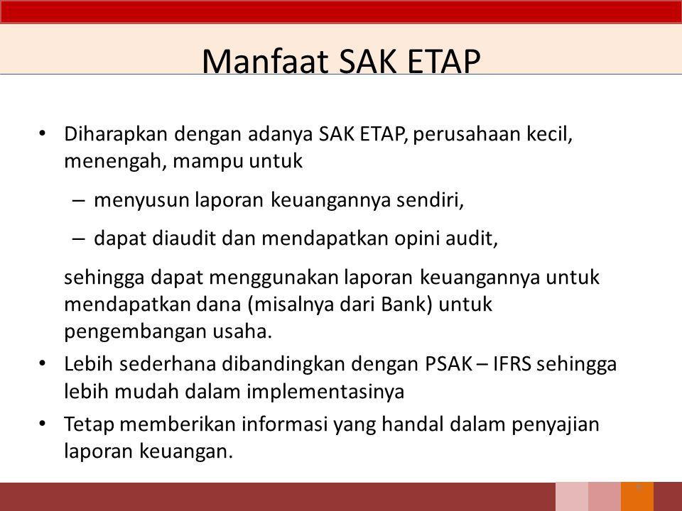 Ruang lingkup SAK ETAP, dimaksudkan untuk digunakan oleh Entitas Tanpa Akuntabilitas Publik (ETAP), yaitu entitas yang: Tidak memiliki akuntabilitas publik signifikan; dan Menerbitkan laporan keuangan untuk tujuan umum bagi pengguna eksternal 20 BAB1 Ruang Lingkup