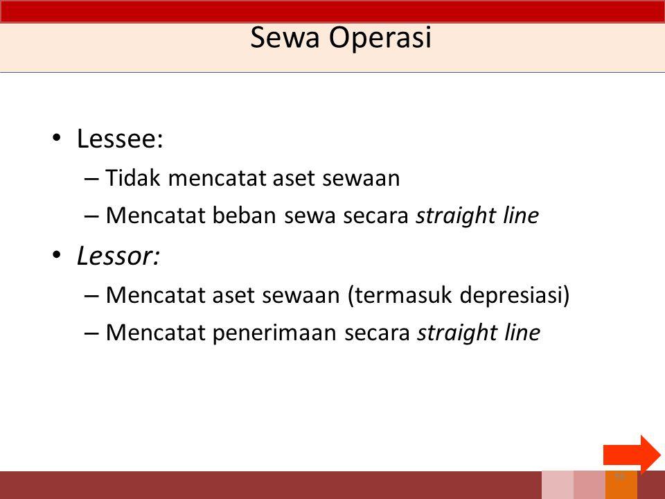 Sewa Operasi Lessee: – Tidak mencatat aset sewaan – Mencatat beban sewa secara straight line Lessor: – Mencatat aset sewaan (termasuk depresiasi) – Me
