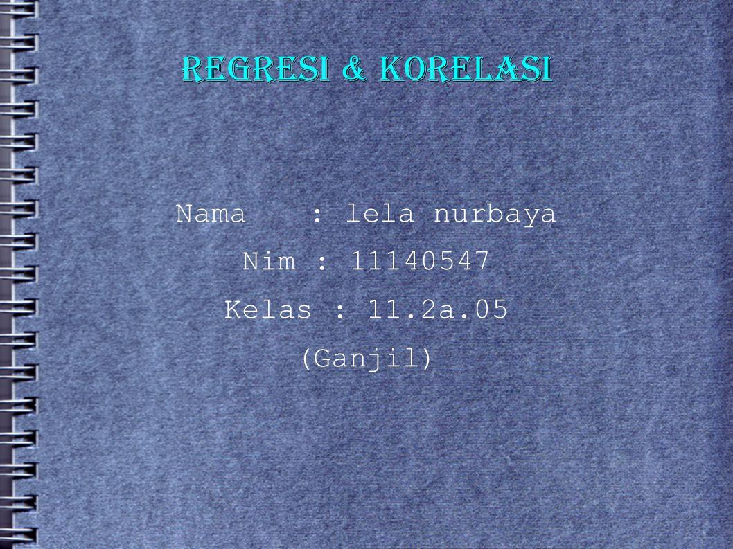 REGRESI & KORELASI Nama : lela nurbaya Nim : 11140547 Kelas : 11.2a.05 (Ganjil)