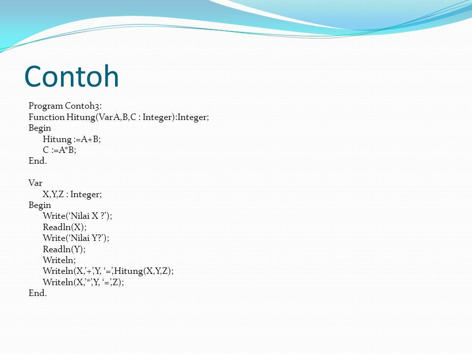 Contoh Program Contoh3: Function Hitung(Var A,B,C : Integer):Integer; Begin Hitung :=A+B; C :=A*B; End.