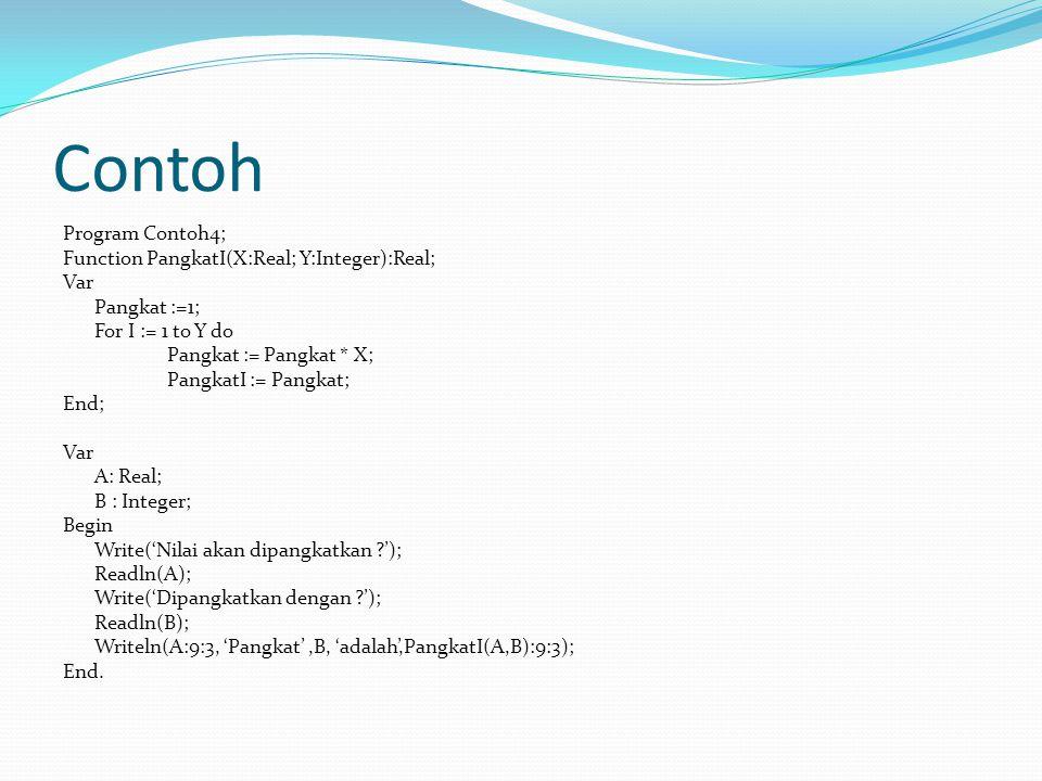 Contoh Program Contoh4; Function PangkatI(X:Real; Y:Integer):Real; Var Pangkat :=1; For I := 1 to Y do Pangkat := Pangkat * X; PangkatI := Pangkat; End; Var A: Real; B : Integer; Begin Write('Nilai akan dipangkatkan '); Readln(A); Write('Dipangkatkan dengan '); Readln(B); Writeln(A:9:3, 'Pangkat',B, 'adalah',PangkatI(A,B):9:3); End.