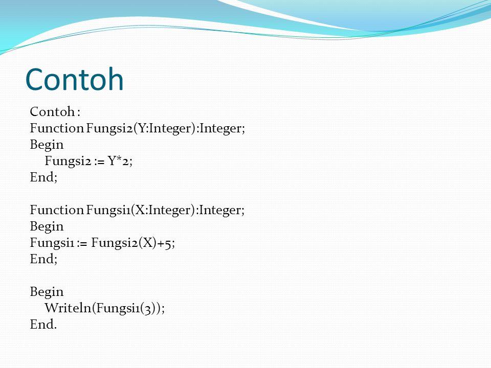Contoh Contoh : Function Fungsi2(Y:Integer):Integer; Begin Fungsi2 := Y*2; End; Function Fungsi1(X:Integer):Integer; Begin Fungsi1 := Fungsi2(X)+5; End; Begin Writeln(Fungsi1(3)); End.
