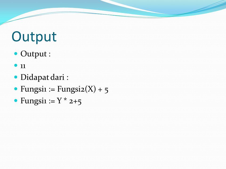 Output Output : 11 Didapat dari : Fungsi1 := Fungsi2(X) + 5 Fungsi1 := Y * 2+5