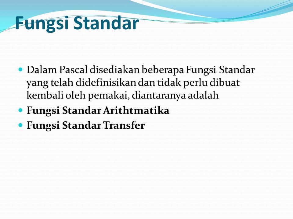 Fungsi Standar Dalam Pascal disediakan beberapa Fungsi Standar yang telah didefinisikan dan tidak perlu dibuat kembali oleh pemakai, diantaranya adalah Fungsi Standar Arithtmatika Fungsi Standar Transfer
