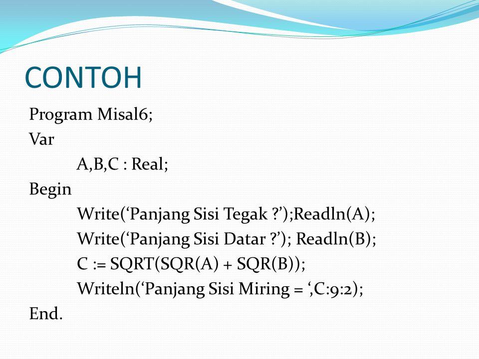 CONTOH Program Misal6; Var A,B,C : Real; Begin Write('Panjang Sisi Tegak ');Readln(A); Write('Panjang Sisi Datar '); Readln(B); C := SQRT(SQR(A) + SQR(B)); Writeln('Panjang Sisi Miring = ',C:9:2); End.