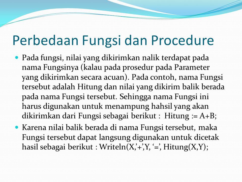 Perbedaan Fungsi dan Procedure Pada fungsi, nilai yang dikirimkan nalik terdapat pada nama Fungsinya (kalau pada prosedur pada Parameter yang dikirimkan secara acuan).