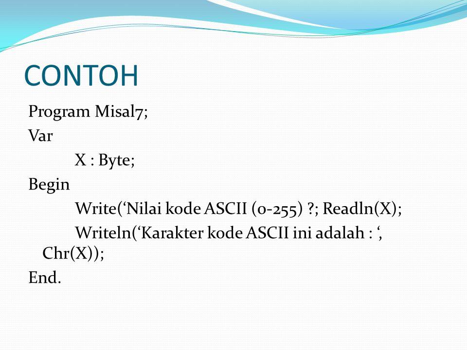 CONTOH Program Misal7; Var X : Byte; Begin Write('Nilai kode ASCII (0-255) ; Readln(X); Writeln('Karakter kode ASCII ini adalah : ', Chr(X)); End.