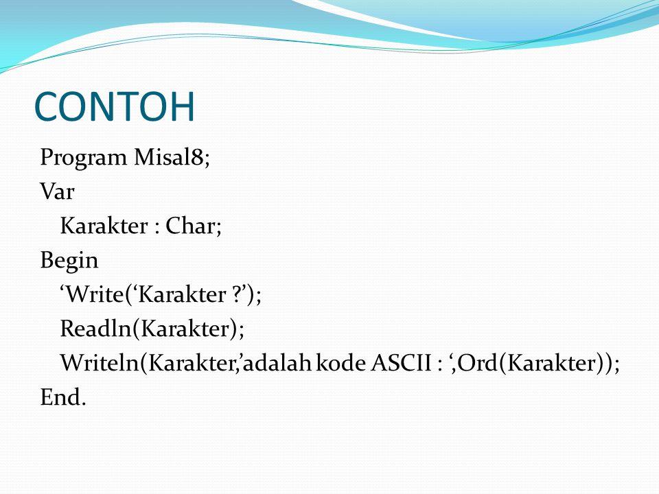 CONTOH Program Misal8; Var Karakter : Char; Begin 'Write('Karakter '); Readln(Karakter); Writeln(Karakter,'adalah kode ASCII : ',Ord(Karakter)); End.