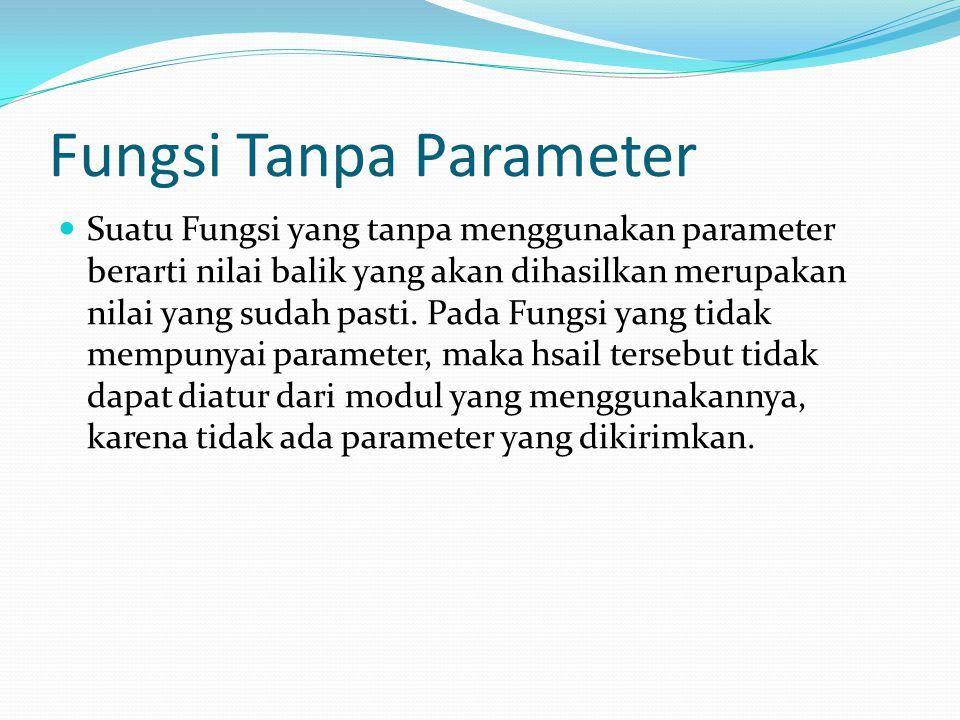 Fungsi Tanpa Parameter Suatu Fungsi yang tanpa menggunakan parameter berarti nilai balik yang akan dihasilkan merupakan nilai yang sudah pasti.