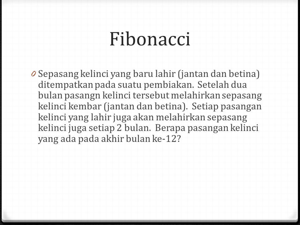Fibonacci 0 Sepasang kelinci yang baru lahir (jantan dan betina) ditempatkan pada suatu pembiakan. Setelah dua bulan pasangn kelinci tersebut melahirk