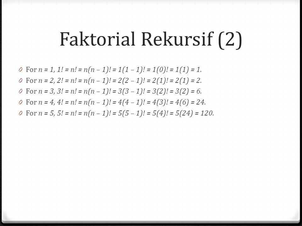 Faktorial Rekursif (2) 0 For n = 1, 1! = n! = n(n – 1)! = 1(1 – 1)! = 1(0)! = 1(1) = 1. 0 For n = 2, 2! = n! = n(n – 1)! = 2(2 – 1)! = 2(1)! = 2(1) =