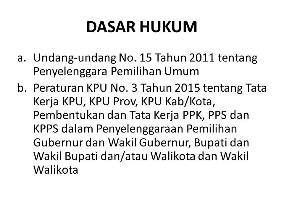 DASAR HUKUM a.Undang-undang No. 15 Tahun 2011 tentang Penyelenggara Pemilihan Umum b.Peraturan KPU No. 3 Tahun 2015 tentang Tata Kerja KPU, KPU Prov,