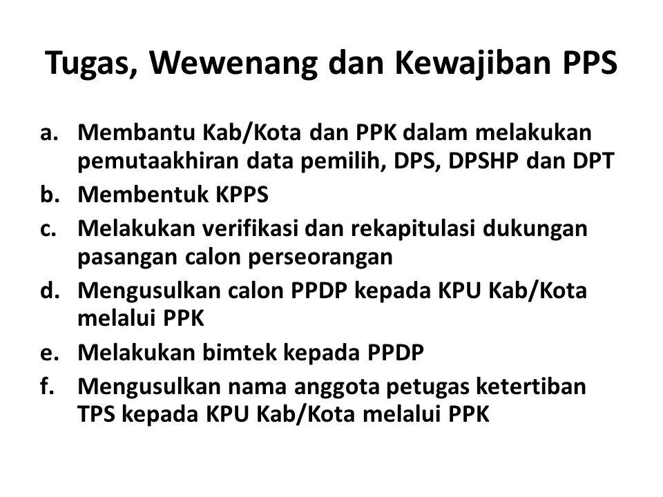 Tugas, Wewenang dan Kewajiban PPS a.Membantu Kab/Kota dan PPK dalam melakukan pemutaakhiran data pemilih, DPS, DPSHP dan DPT b.Membentuk KPPS c.Melakukan verifikasi dan rekapitulasi dukungan pasangan calon perseorangan d.Mengusulkan calon PPDP kepada KPU Kab/Kota melalui PPK e.Melakukan bimtek kepada PPDP f.Mengusulkan nama anggota petugas ketertiban TPS kepada KPU Kab/Kota melalui PPK