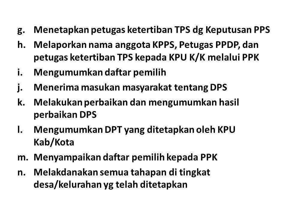 g.Menetapkan petugas ketertiban TPS dg Keputusan PPS h.Melaporkan nama anggota KPPS, Petugas PPDP, dan petugas ketertiban TPS kepada KPU K/K melalui PPK i.Mengumumkan daftar pemilih j.Menerima masukan masyarakat tentang DPS k.Melakukan perbaikan dan mengumumkan hasil perbaikan DPS l.Mengumumkan DPT yang ditetapkan oleh KPU Kab/Kota m.Menyampaikan daftar pemilih kepada PPK n.Melakdanakan semua tahapan di tingkat desa/kelurahan yg telah ditetapkan