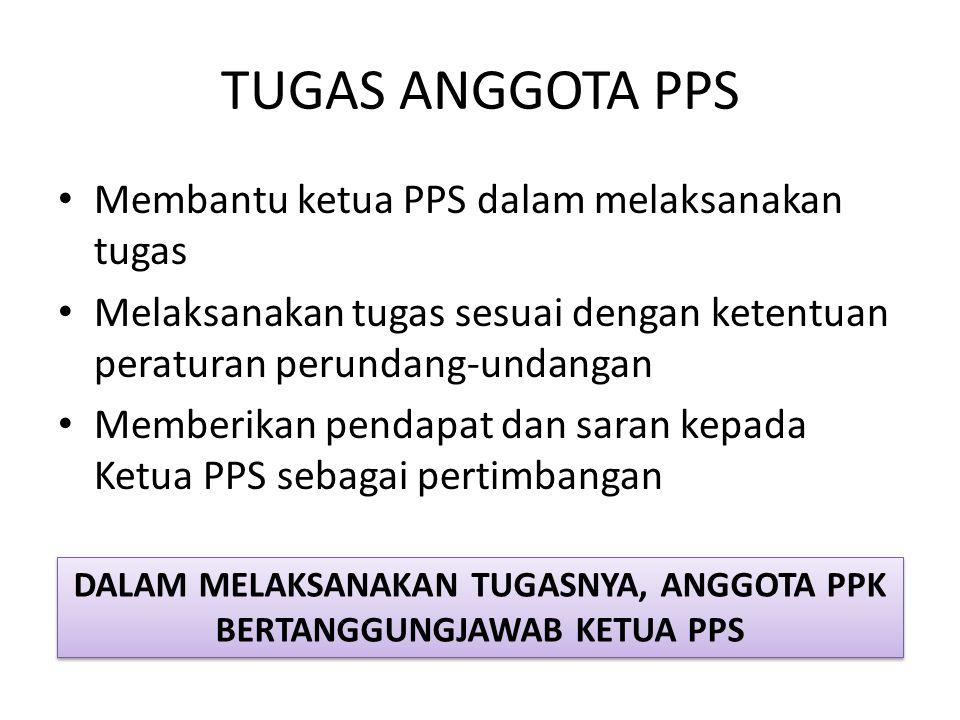 TUGAS ANGGOTA PPS Membantu ketua PPS dalam melaksanakan tugas Melaksanakan tugas sesuai dengan ketentuan peraturan perundang-undangan Memberikan penda