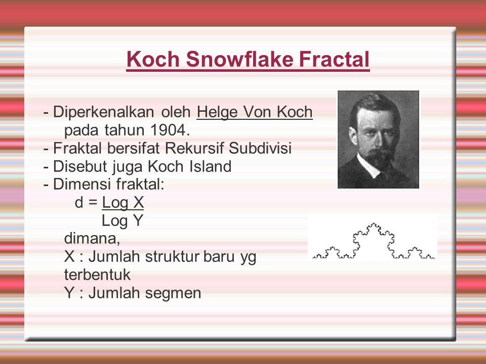 Koch Snowflake Fractal - Diperkenalkan oleh Helge Von Koch pada tahun 1904. - Fraktal bersifat Rekursif Subdivisi - Disebut juga Koch Island - Dimensi