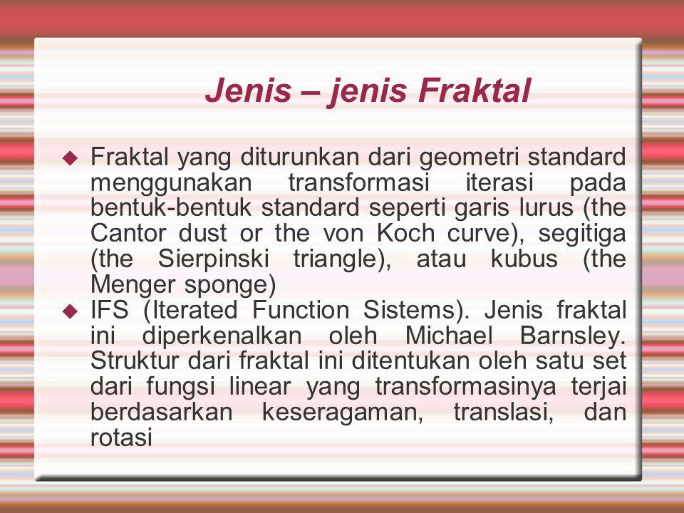 Jenis – jenis Fraktal  Fraktal yang diturunkan dari geometri standard menggunakan transformasi iterasi pada bentuk-bentuk standard seperti garis luru
