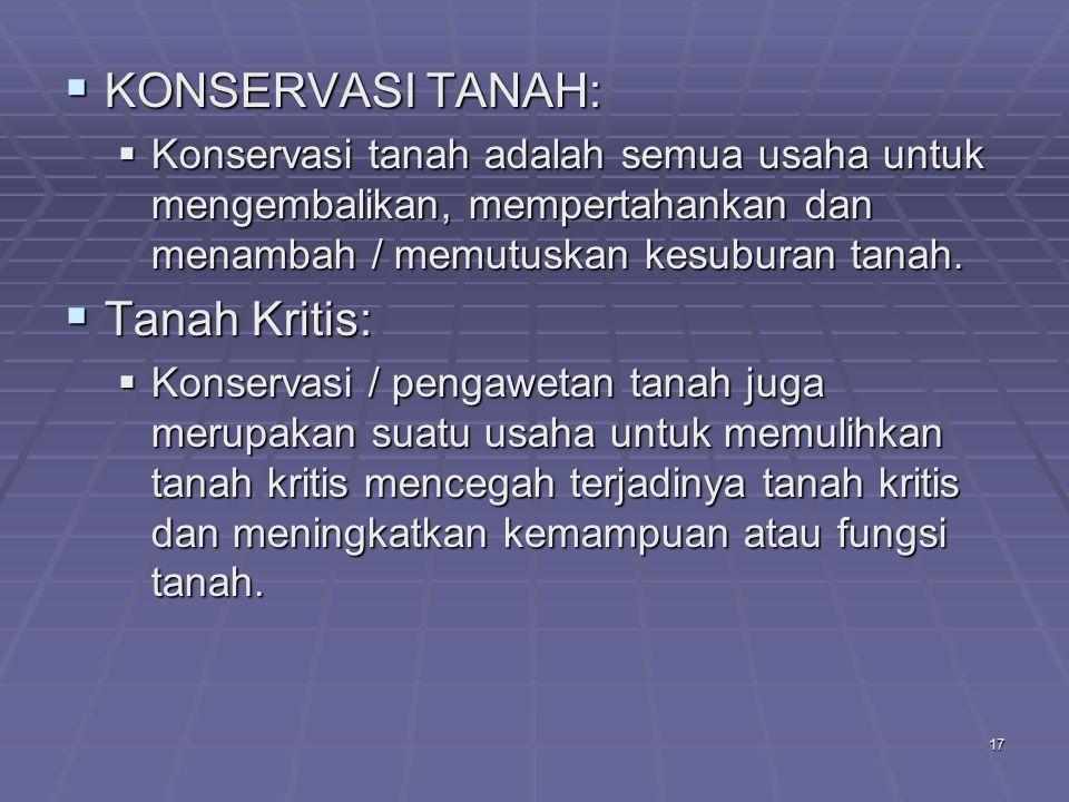 17  KONSERVASI TANAH:  Konservasi tanah adalah semua usaha untuk mengembalikan, mempertahankan dan menambah / memutuskan kesuburan tanah.