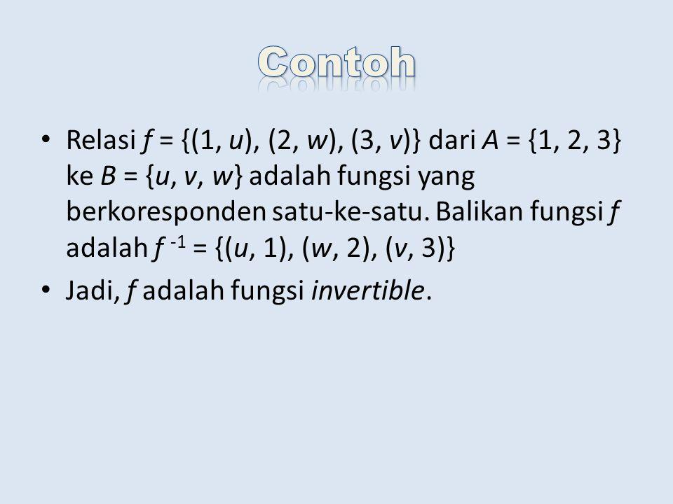 Relasi f = {(1, u), (2, w), (3, v)} dari A = {1, 2, 3} ke B = {u, v, w} adalah fungsi yang berkoresponden satu-ke-satu.