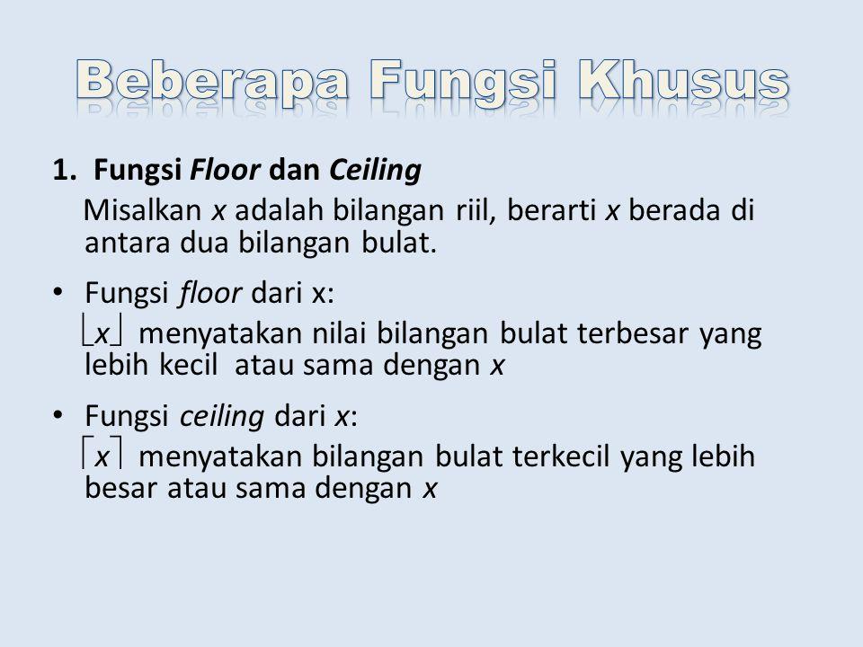 1. Fungsi Floor dan Ceiling Misalkan x adalah bilangan riil, berarti x berada di antara dua bilangan bulat. Fungsi floor dari x:  x  menyatakan nila