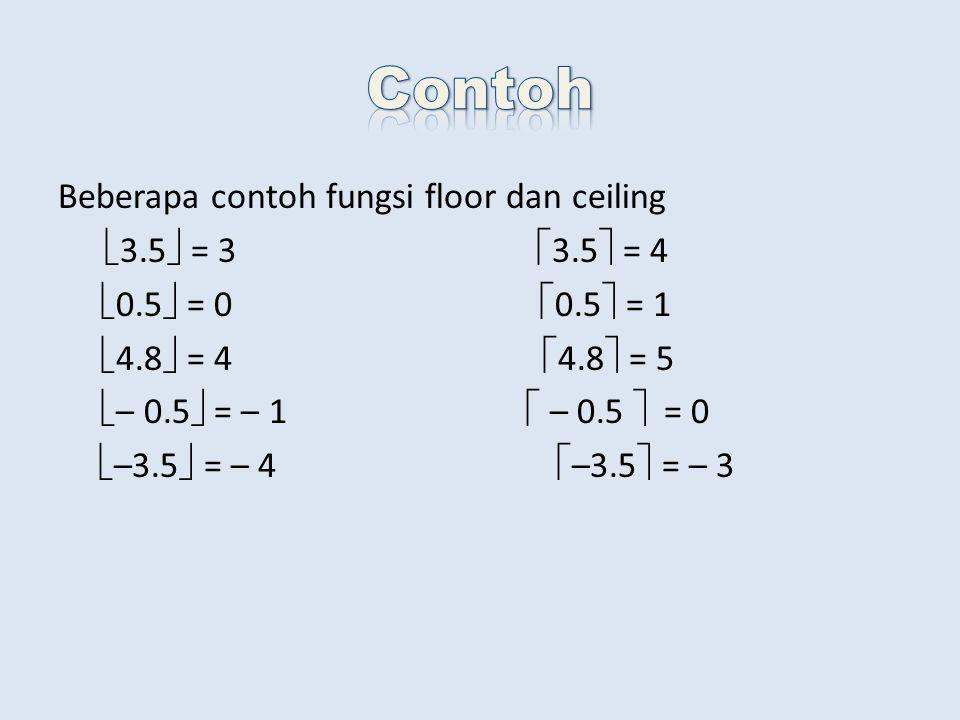 Beberapa contoh fungsi floor dan ceiling  3.5  = 3  3.5  = 4  0.5  = 0  0.5  = 1  4.8  = 4  4.8  = 5  – 0.5  = – 1  – 0.5  = 0  –3.5