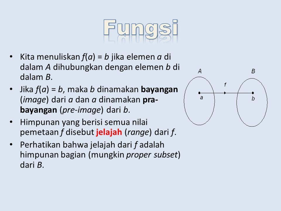 Misalkan f : Z  Z.Tentukan apakah f(x) = x 2 + 1 dan f(x) = x – 1 merupakan fungsi pada (onto).