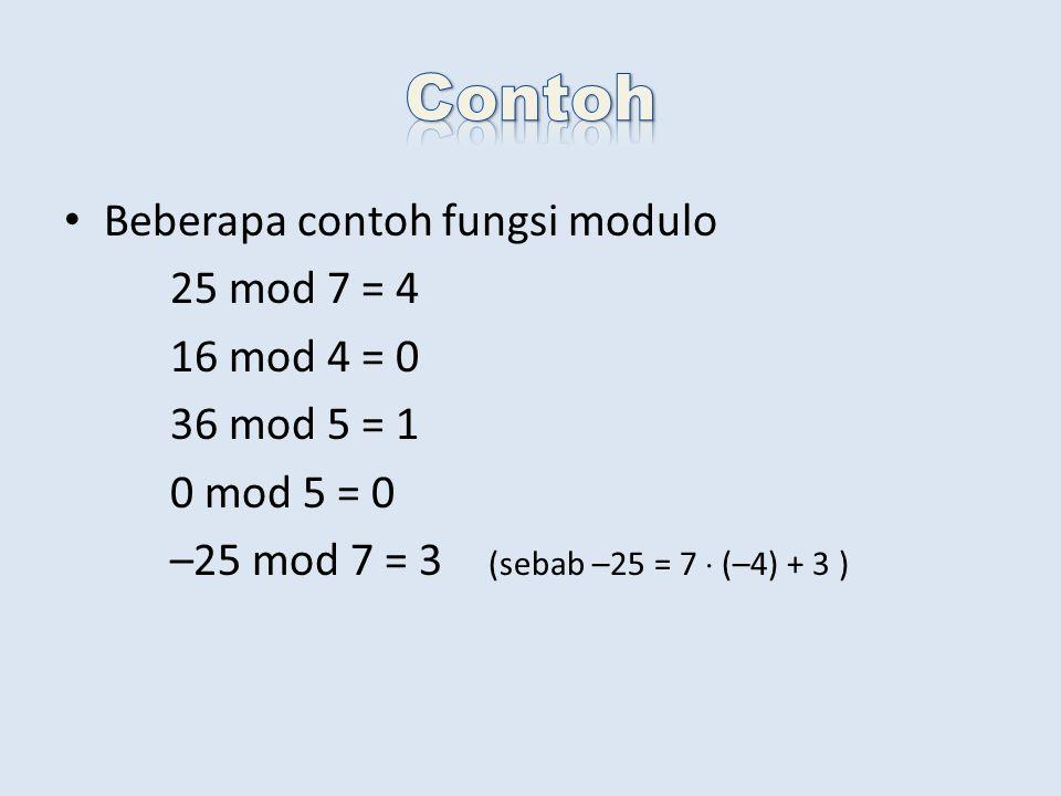 Beberapa contoh fungsi modulo 25 mod 7 = 4 16 mod 4 = 0 36 mod 5 = 1 0 mod 5 = 0 –25 mod 7 = 3 (sebab –25 = 7  (–4) + 3 )