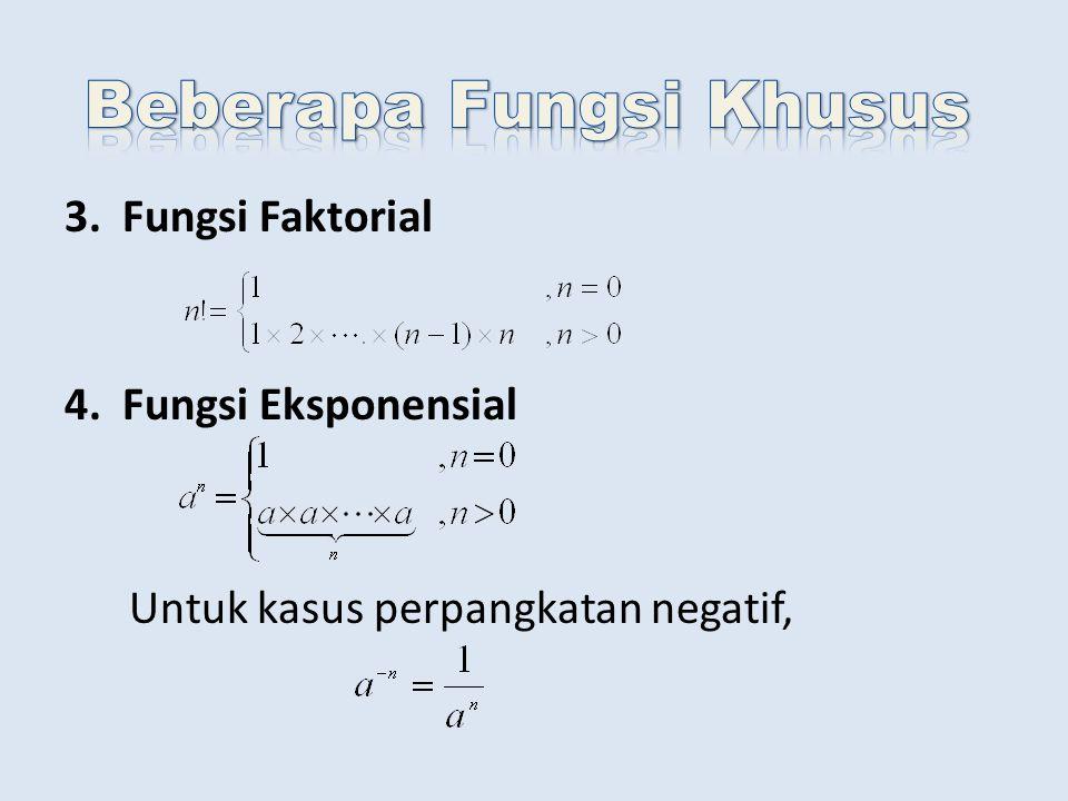 3. Fungsi Faktorial 4. Fungsi Eksponensial Untuk kasus perpangkatan negatif,