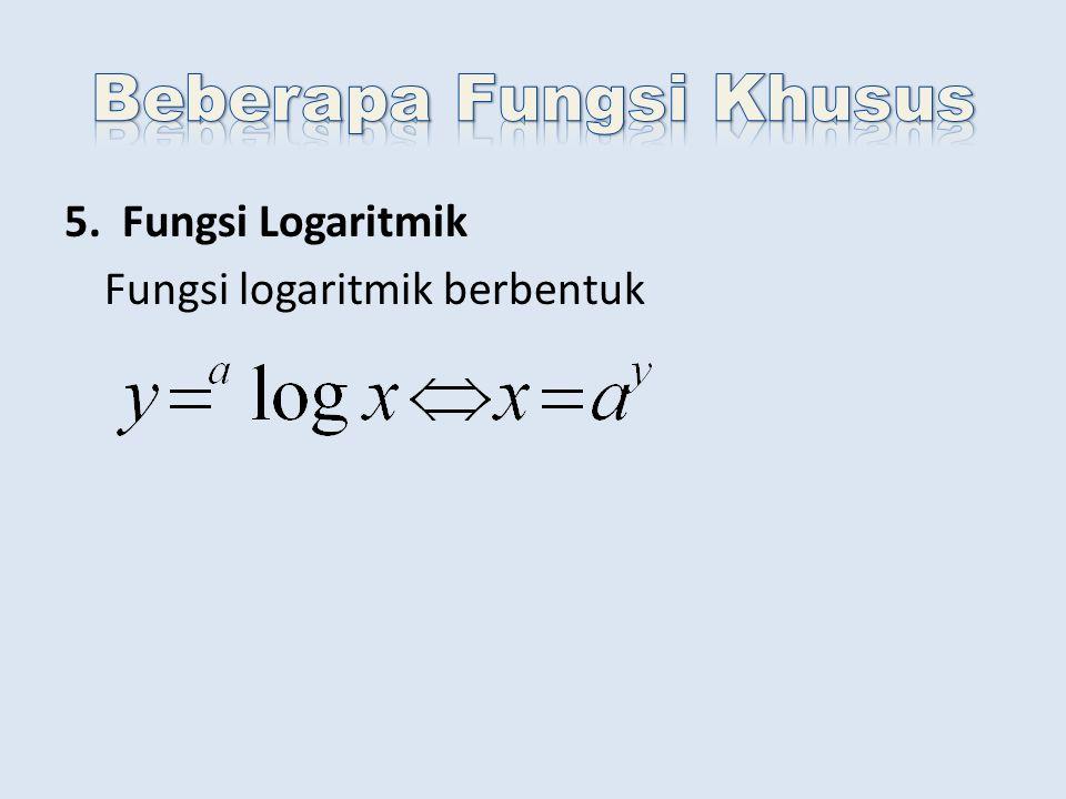 5. Fungsi Logaritmik Fungsi logaritmik berbentuk
