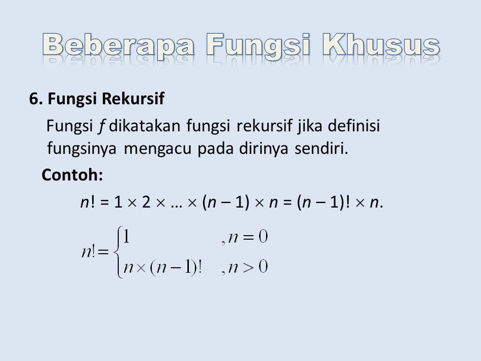 6. Fungsi Rekursif Fungsi f dikatakan fungsi rekursif jika definisi fungsinya mengacu pada dirinya sendiri. Contoh: n! = 1  2  …  (n – 1)  n = (n
