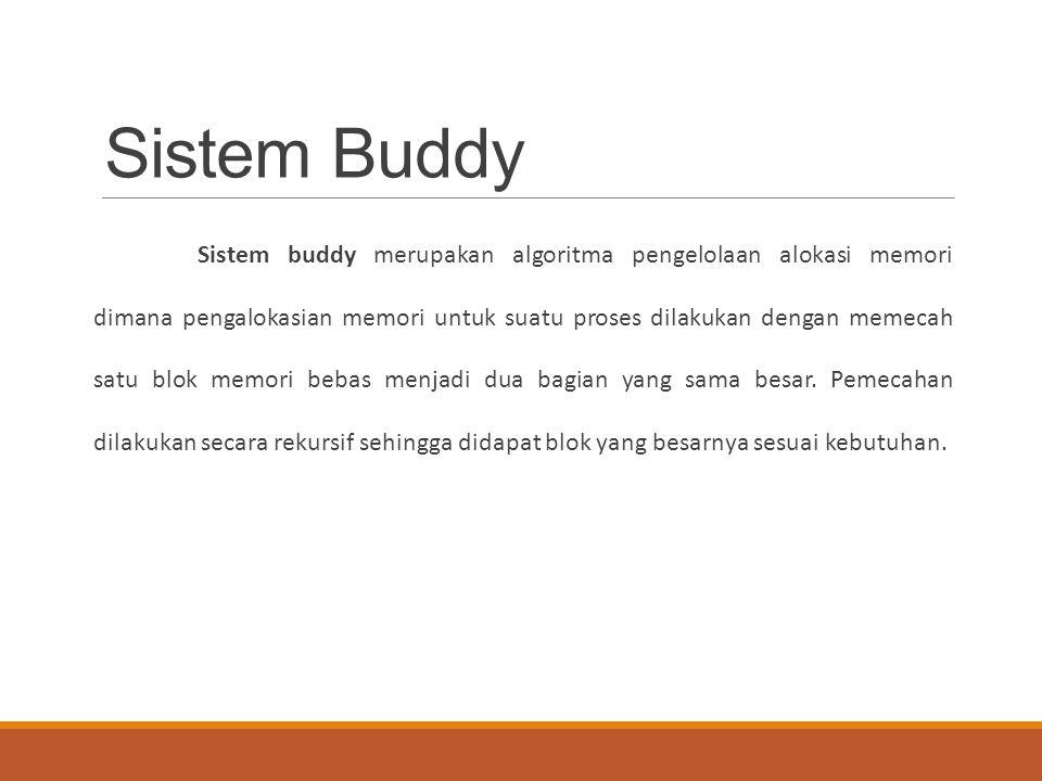 Sistem Buddy Sistem buddy merupakan algoritma pengelolaan alokasi memori dimana pengalokasian memori untuk suatu proses dilakukan dengan memecah satu