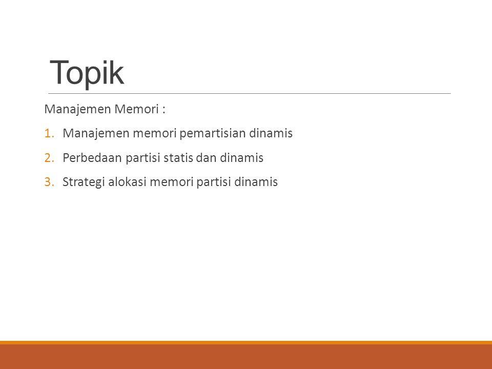 Topik Manajemen Memori : 1.Manajemen memori pemartisian dinamis 2.Perbedaan partisi statis dan dinamis 3.Strategi alokasi memori partisi dinamis